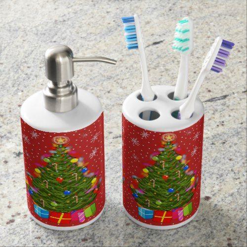 Christmas Tree Toothbrush Holder Soap Dispenser Zazzle Com Bath Accessories Set Soap Dispenser Brushing Teeth