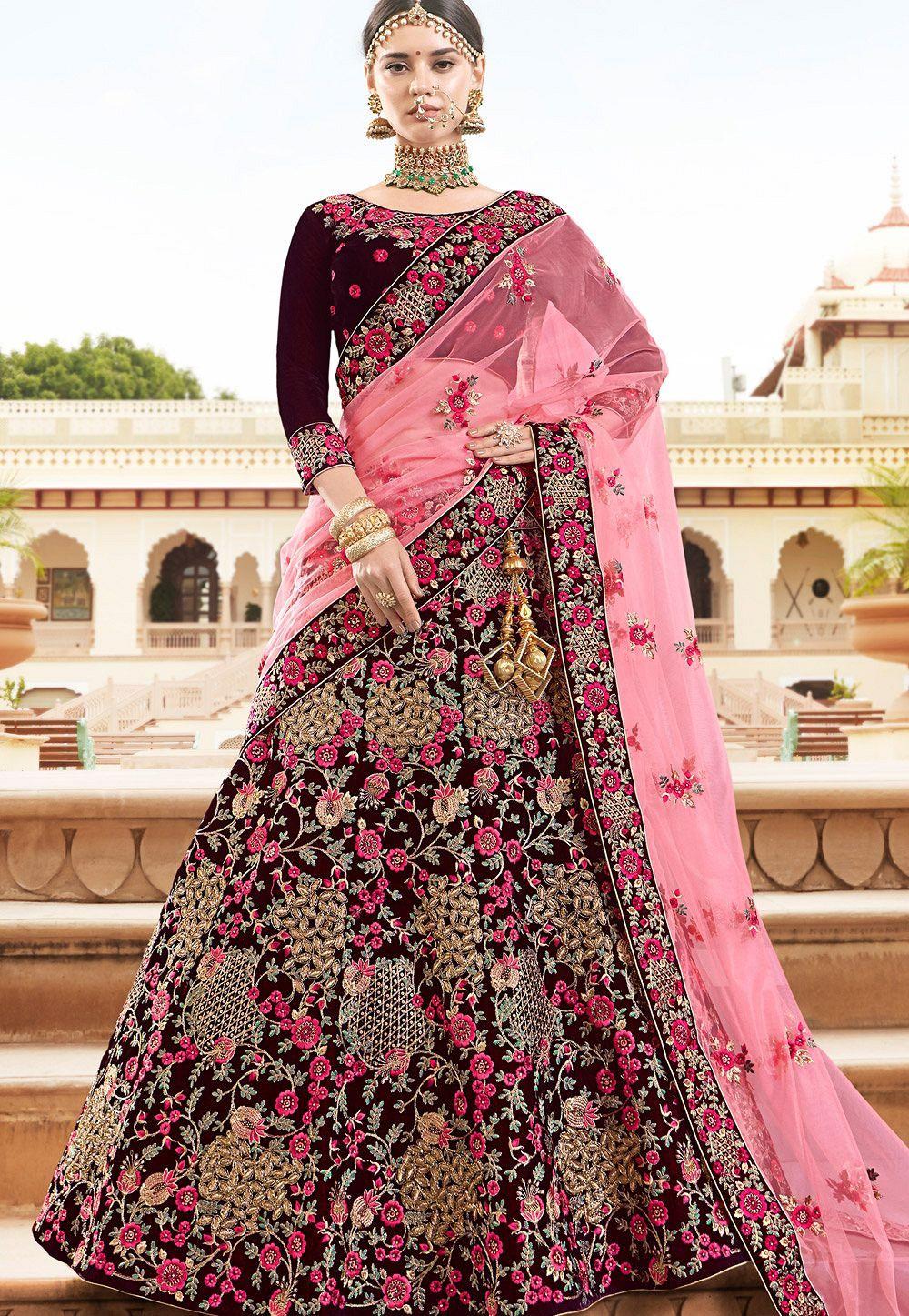 a1b3ab1ce Buy Maroon velvet Indian wedding lehenga in UK