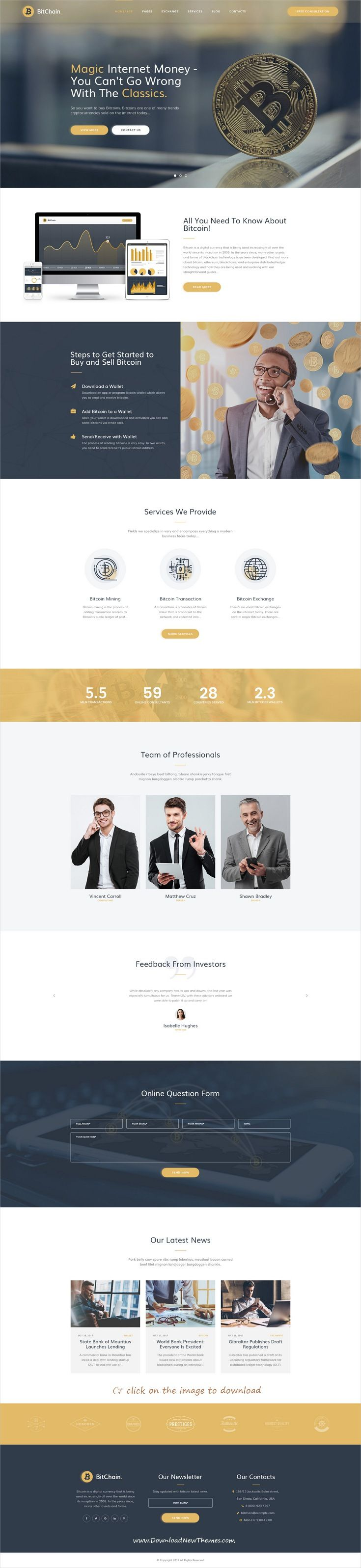 BitChain is clean and modern design PSD template for #bitcoin ...