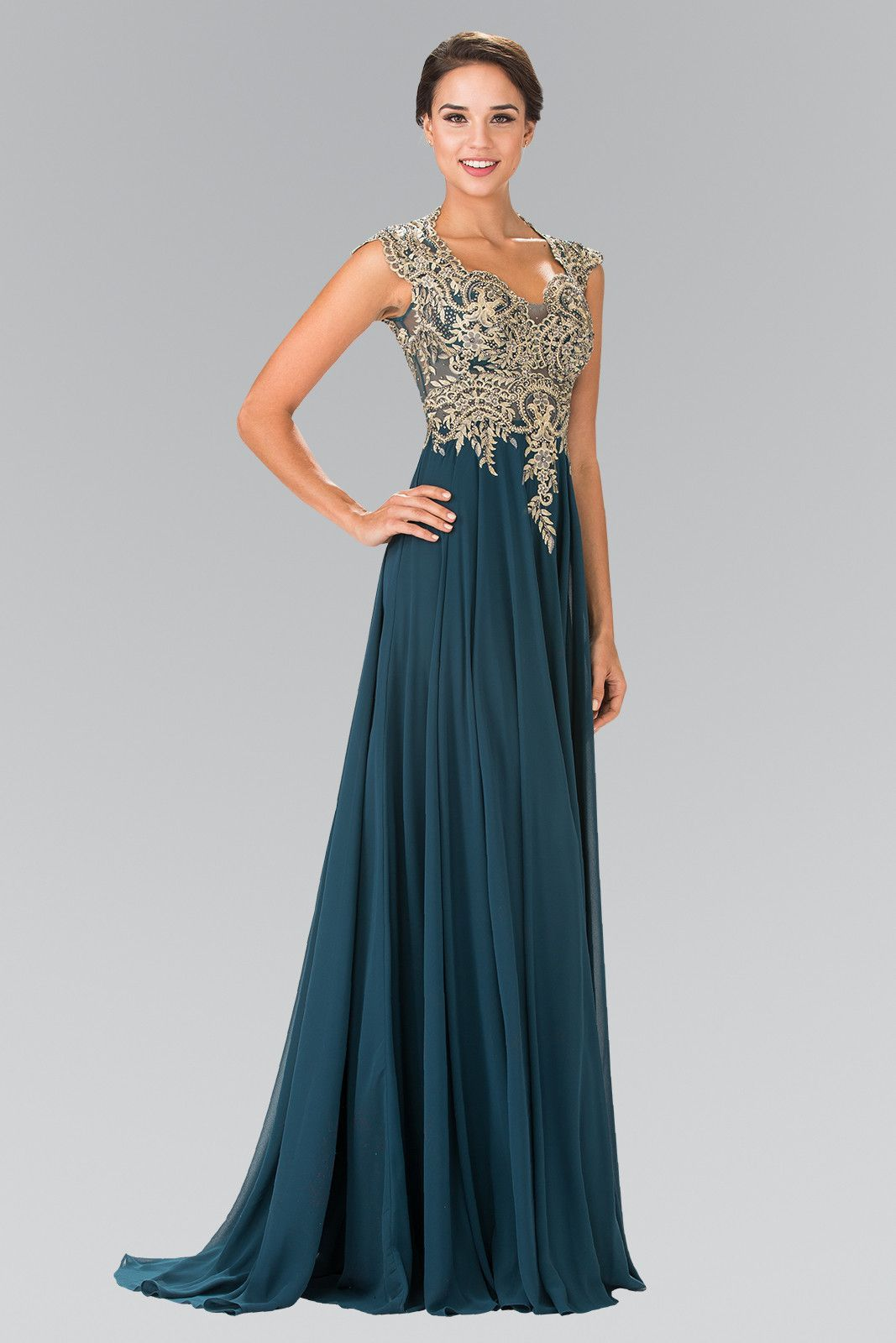Long sleeveless dress with gold applique by elizabeth k