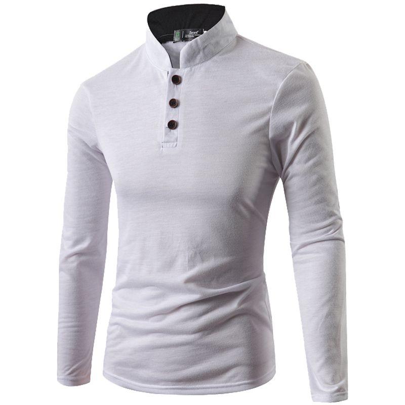 STRIR Polo para Hombre Camiseta Manga Larga Casual Ajustada Cuello Mao con Botones yQPMgz7w