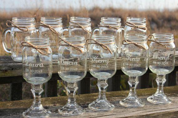 10 Mason Jars 5 Redneck Wine Gles Jar Mug Set Bridal Wedding Party On Etsy 115 00