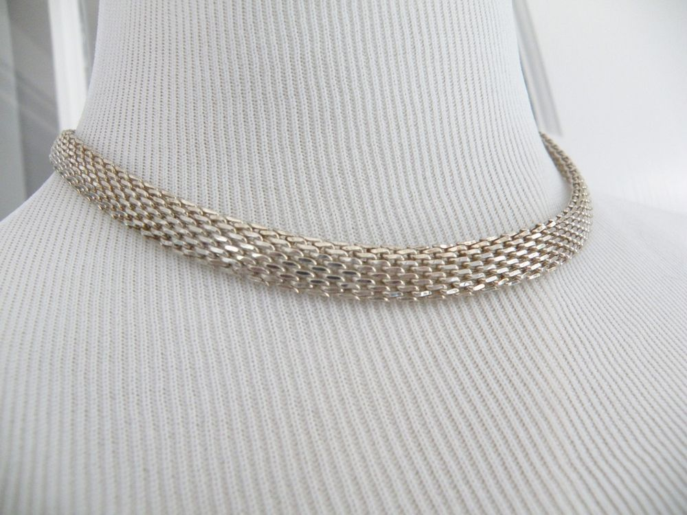 Designer 925 Sterling Silver Mesh Chain Chainmaille Strand Link Necklace Adjust #Designer #Chain