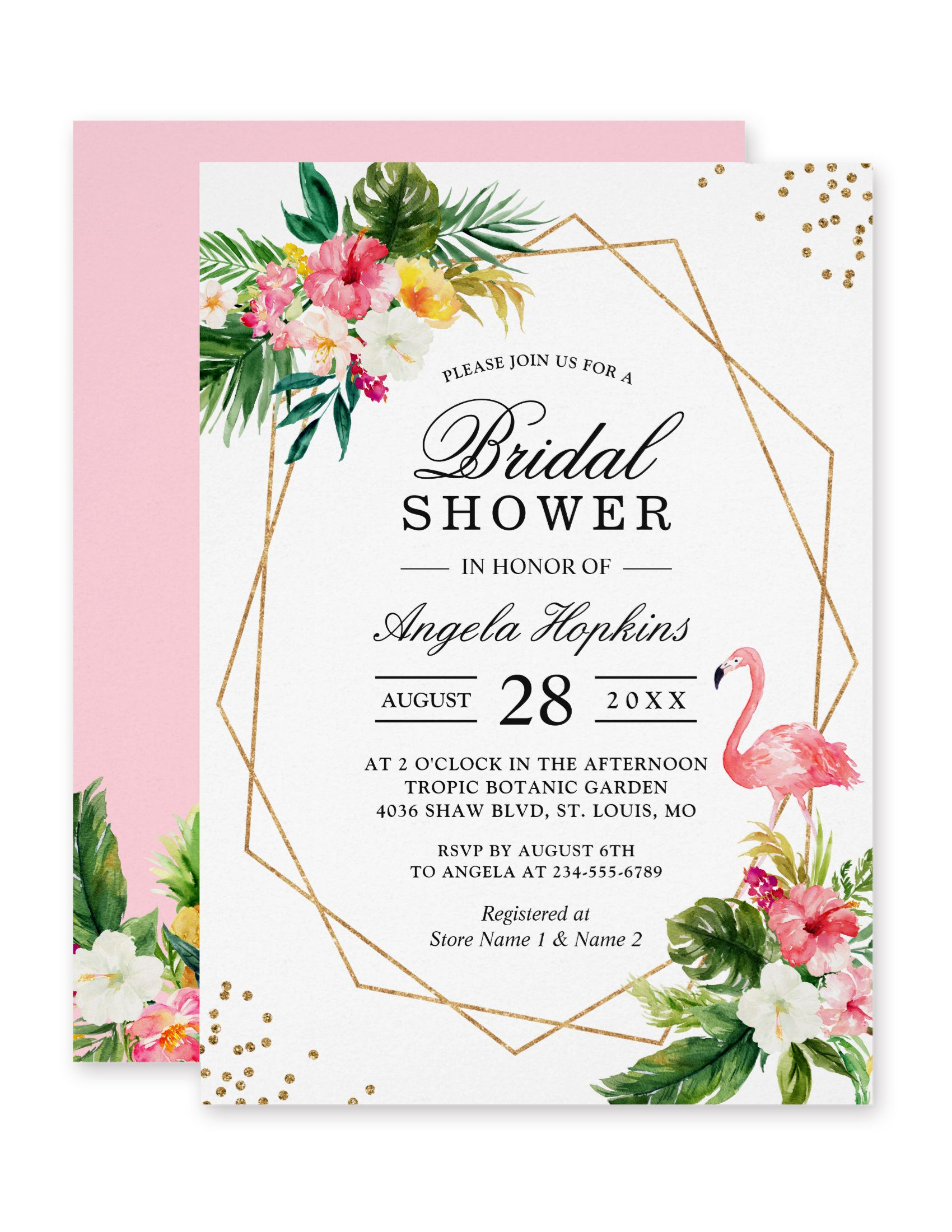 Tropical Floral Gold Frame Flamingo Bridal Shower Card Bridal