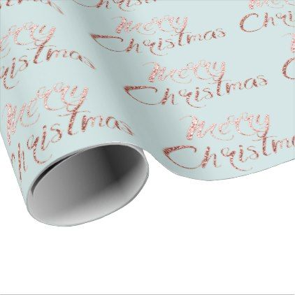 merry christmas rose gold tiffany blue cottage wrapping paper