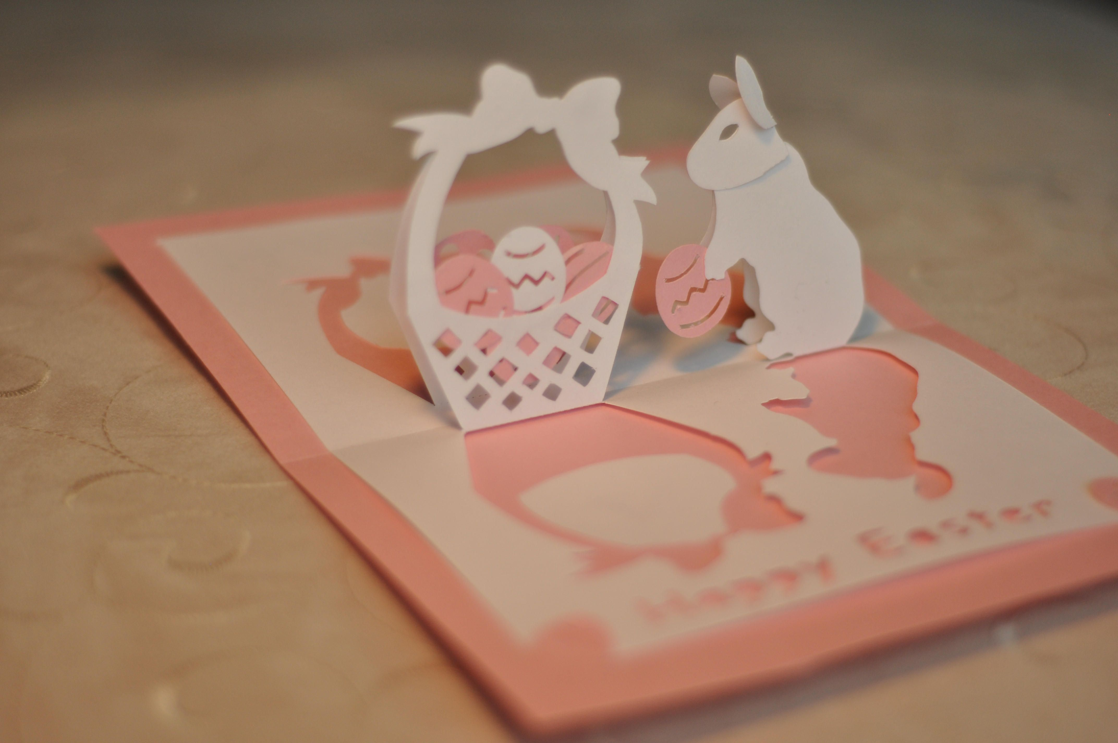 Easter Bunny And Basket Pop Up Card Template With Images Pop