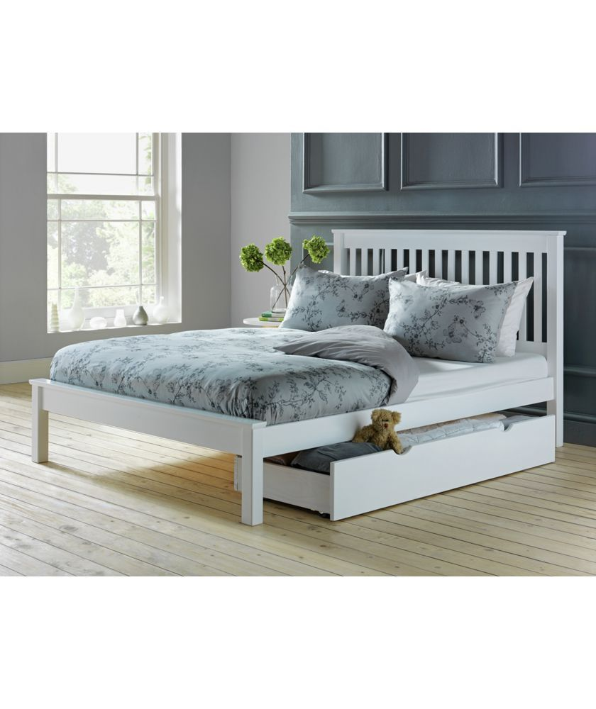 Buy aspley double bed frame white at your - Bed frames for small rooms ...