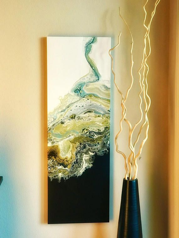 Acrylic pour Abstract painting black white and gold modern art wall ...