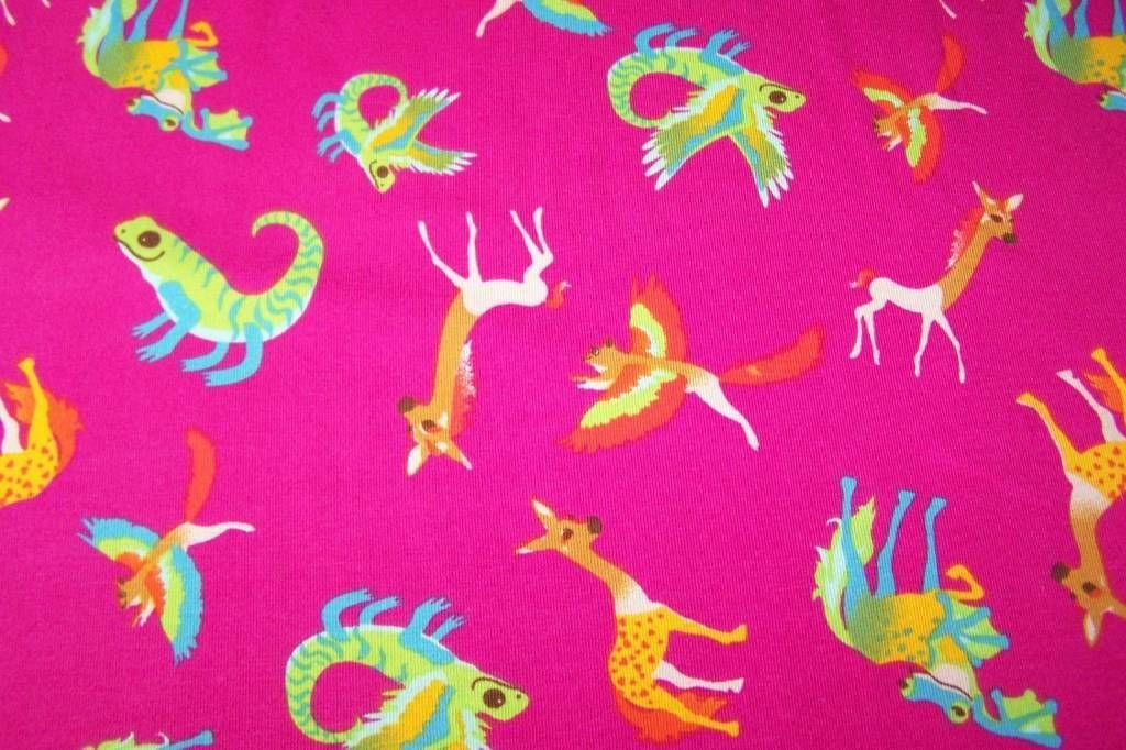 J.Swafing Baumwolljersey Fabeltier Phantasietiere Kinderstoff  Maputo pink Jersey