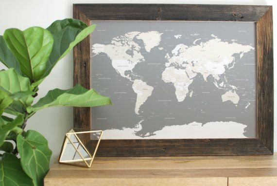 Small World Map Push Pin Travel Map Reclaimed Wood Anniversary - Small framed world map
