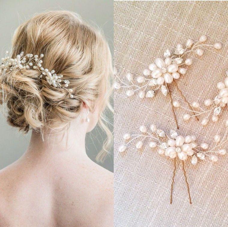 Gold Bridal Pins, Small Bridal Hair Accessories, Hairpins, Pearl Crystal Pins, Headwear Hair Clip Bohemian Boho Hair, Silver Pins by LTCoutureAtelier on Etsy
