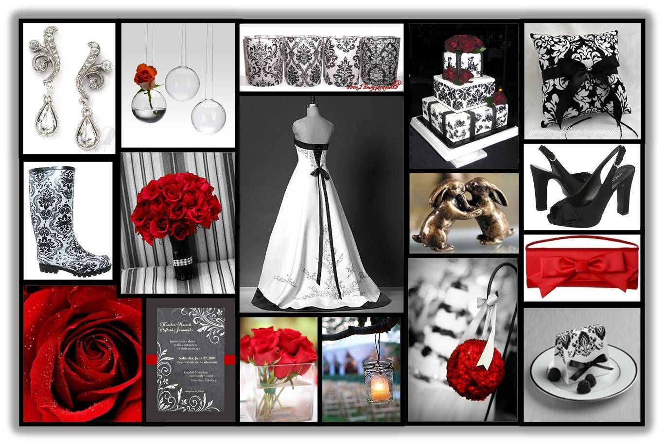 Red And Black Damask Wedding
