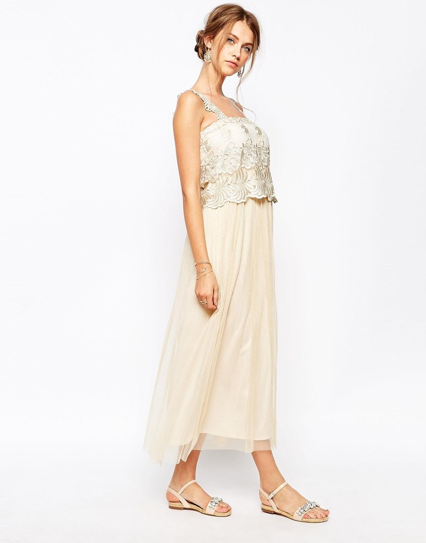 Soma london vintage lace maxi dress with gold embroidered wedding