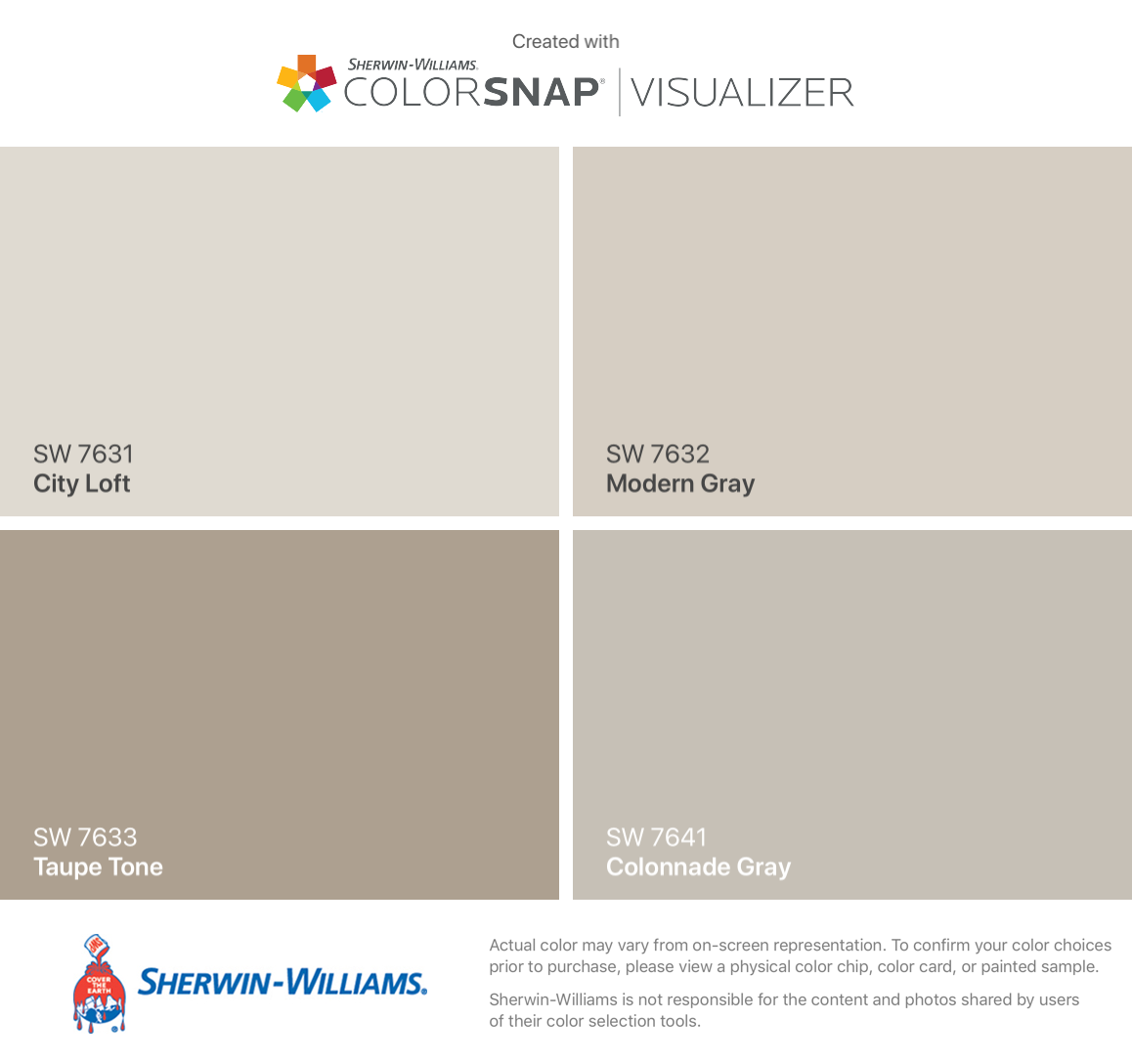 I found these colors with ColorSnap® Visualizer for iPhone by Sherwin-Williams: City Loft (SW 7631), Taupe Tone (SW 7633), Modern Gray (SW 7632), Colonnade Gray (SW 7641). #cityloftsherwinwilliams