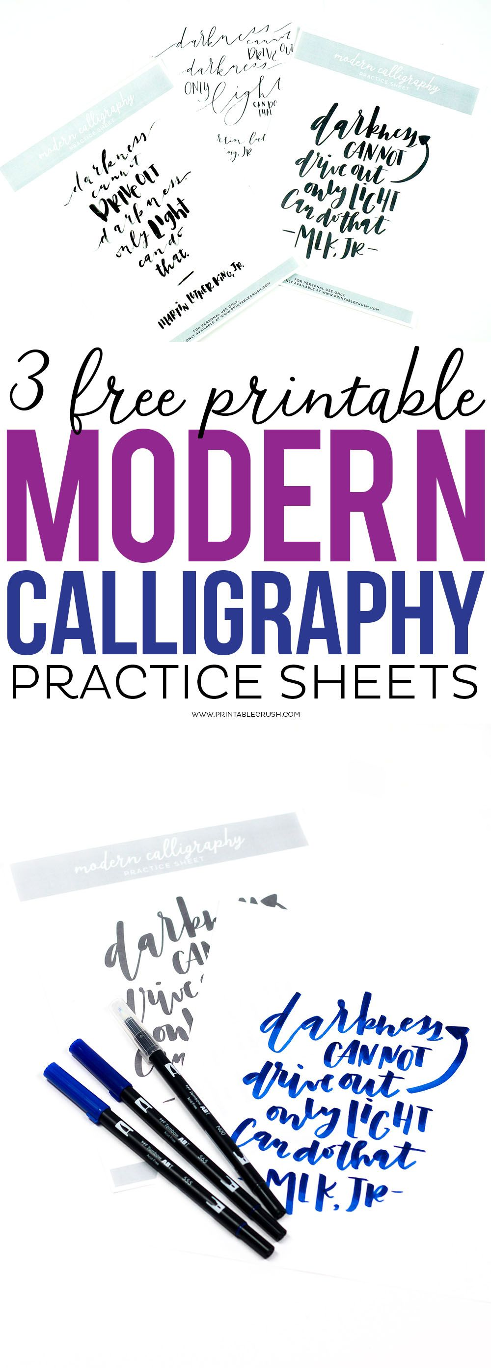 Download These  Free Printable Modern Calligraphy Practice Sheets