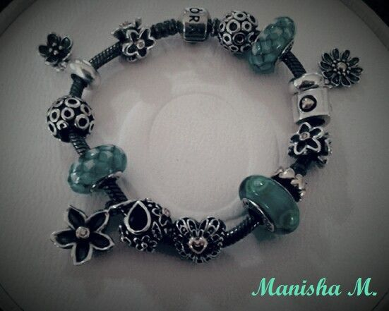 Pandora Oxidised Bracelet With Teal Murano And Two Tone Charms Fl Heart Theme