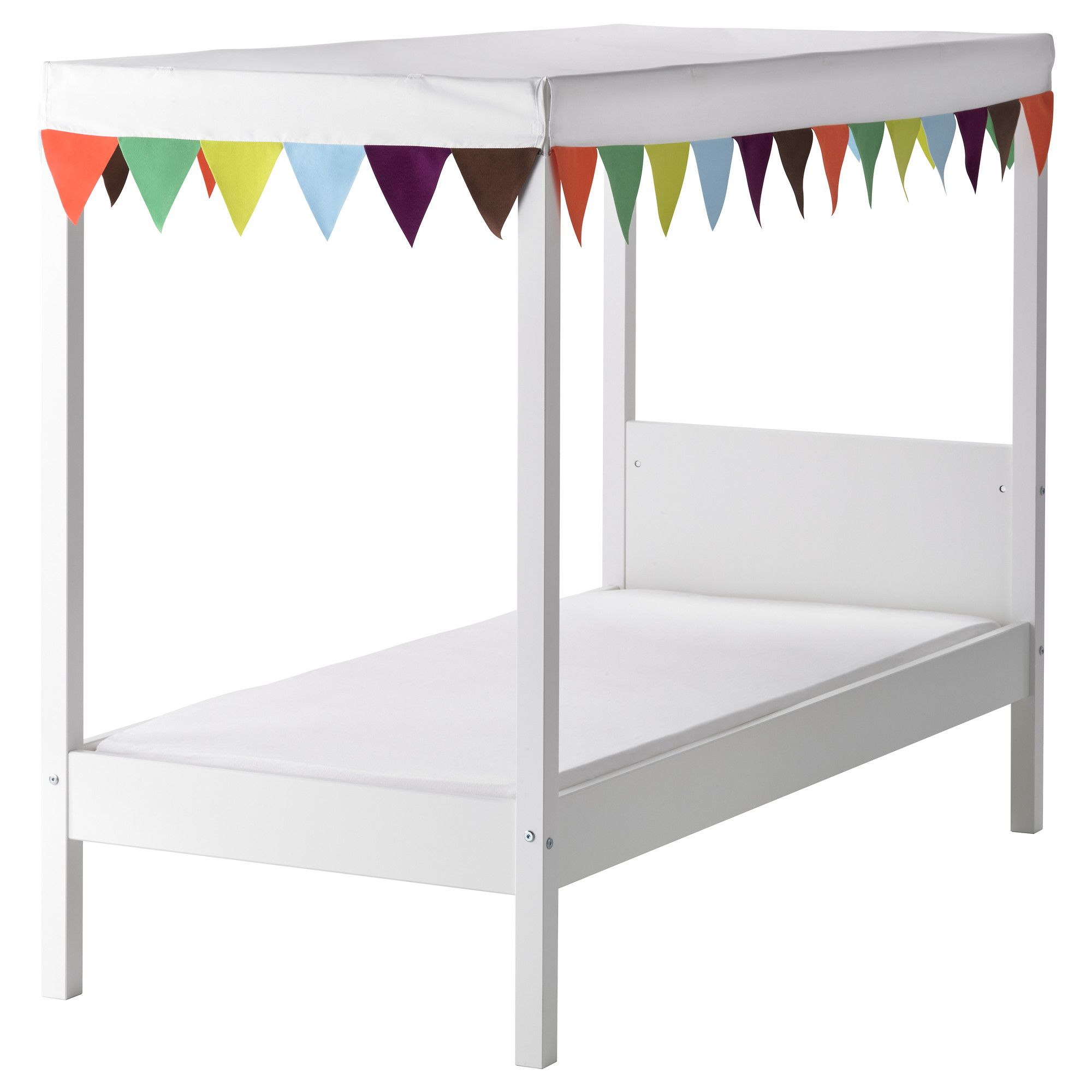 Övre bed with slatted base and canopy - ikeai almost want to buy