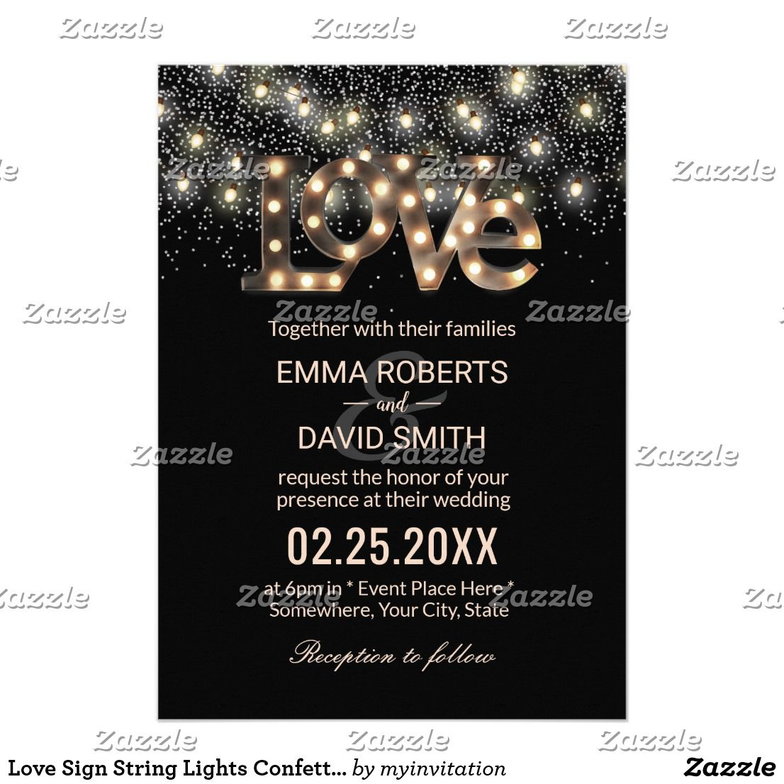 Love Sign String Lights Confetti Modern Wedding Card Wedding Card