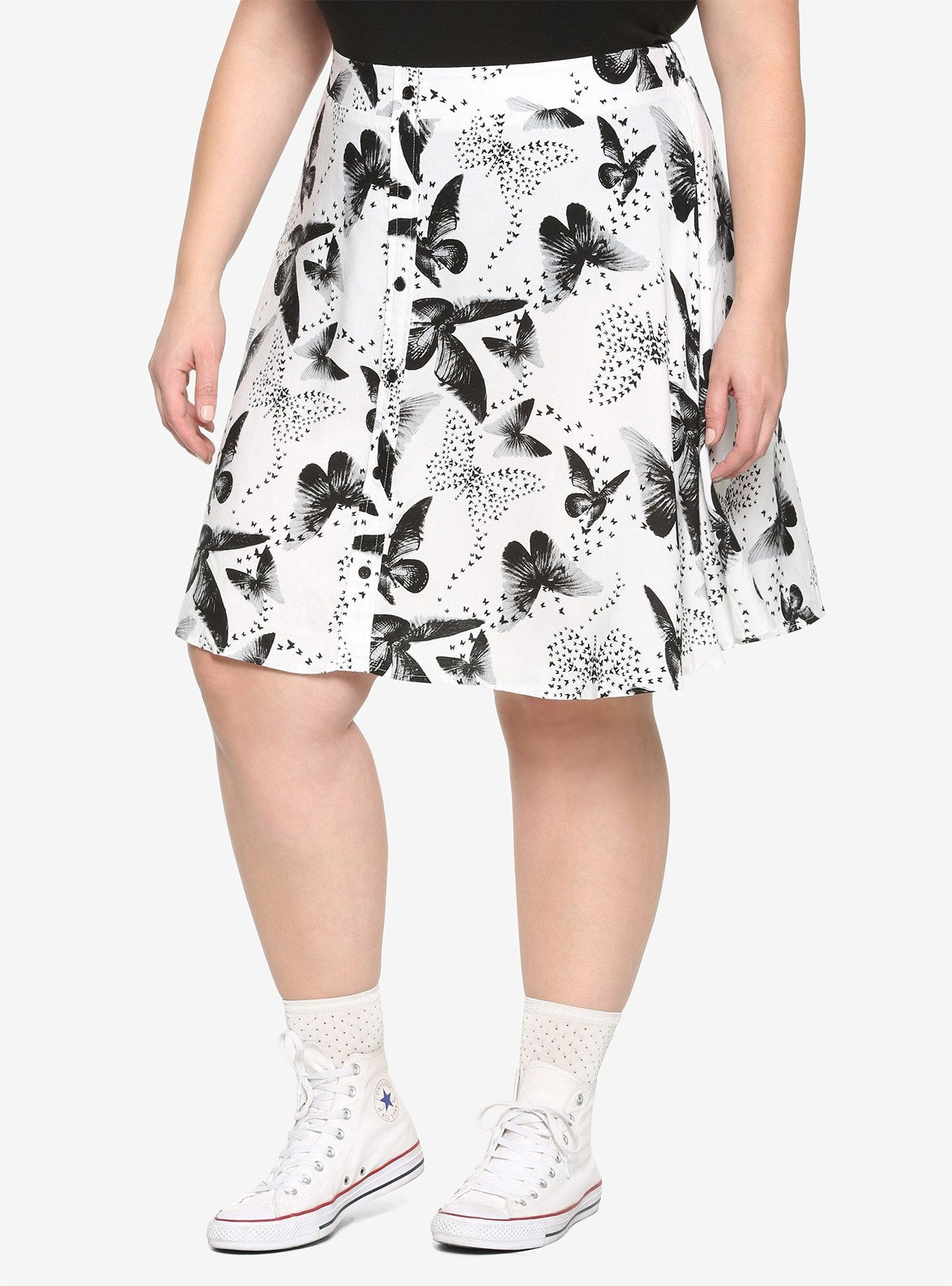 70bb759cc6 Black & White Butterfly Print Skirt Plus Size in 2019 | Clothing ...