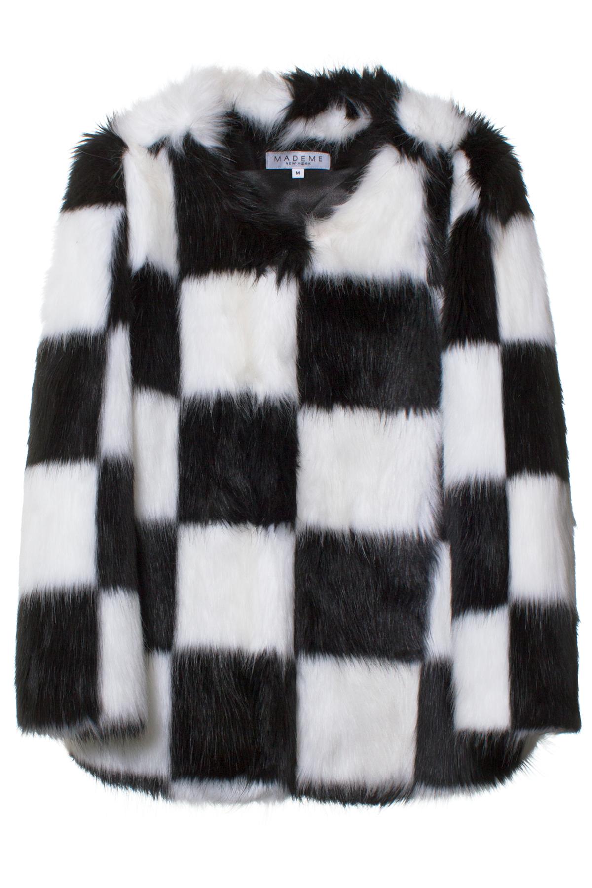 MADEME BLACK/WHITE CHECKERED FUR COAT Black and white faux fur ...