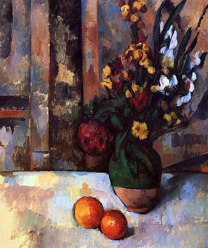 Vase de fleurs et pommes (1890) - Paul Cezanne. Art Experience NYC www.artexperiencenyc.com/social_login/?utm_source=pinterest_medium=pins_content=pinterest_pins_campaign=pinterest_initial