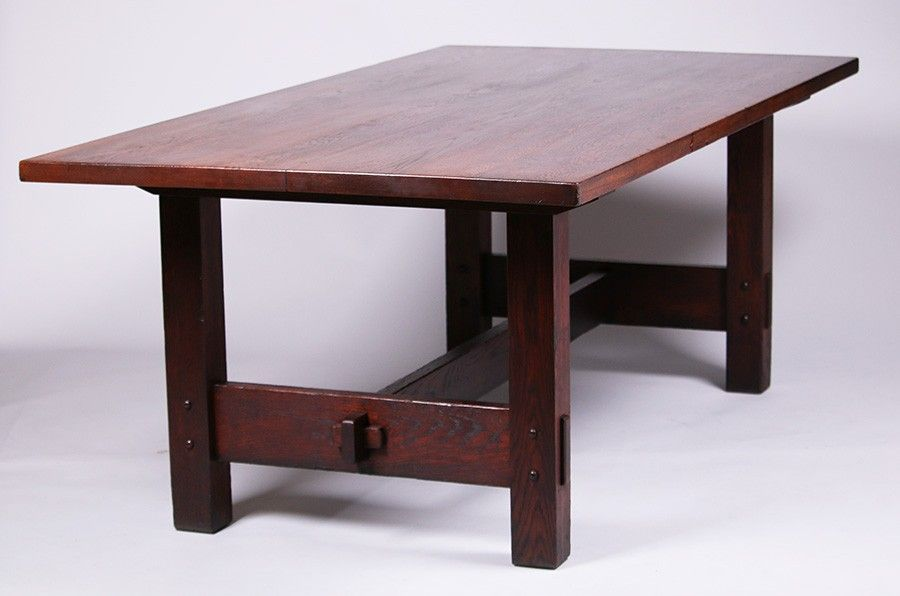 Rare Gustav Stickley Rectangular Dining Table Provenance Robert Elaine Dillof Collection Croton