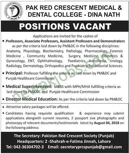 Teaching and Non Teaching Jobs in Pak Red Crescent Medical and