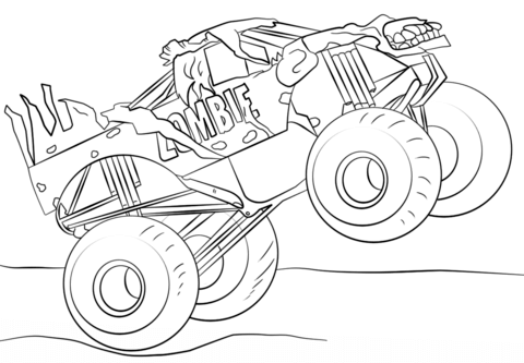 Zombie Monster Truck Coloring page Lapsille Pinterest Monster