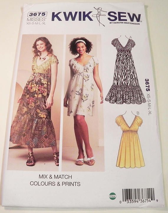 Boho Dress Elastic waist v neck short sleeves sewing pattern Kwik ...