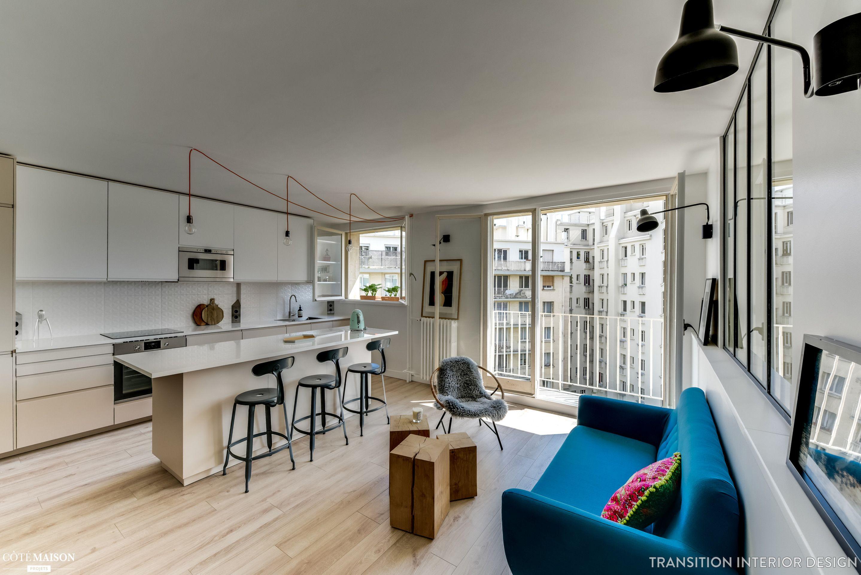 Appartement de 46 m2 paris boulogne billancourt - Architecte interieur paris petite surface ...