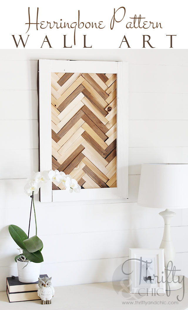 DIY Herringbone Pattern Wall Art using wood shims - herringbone wall