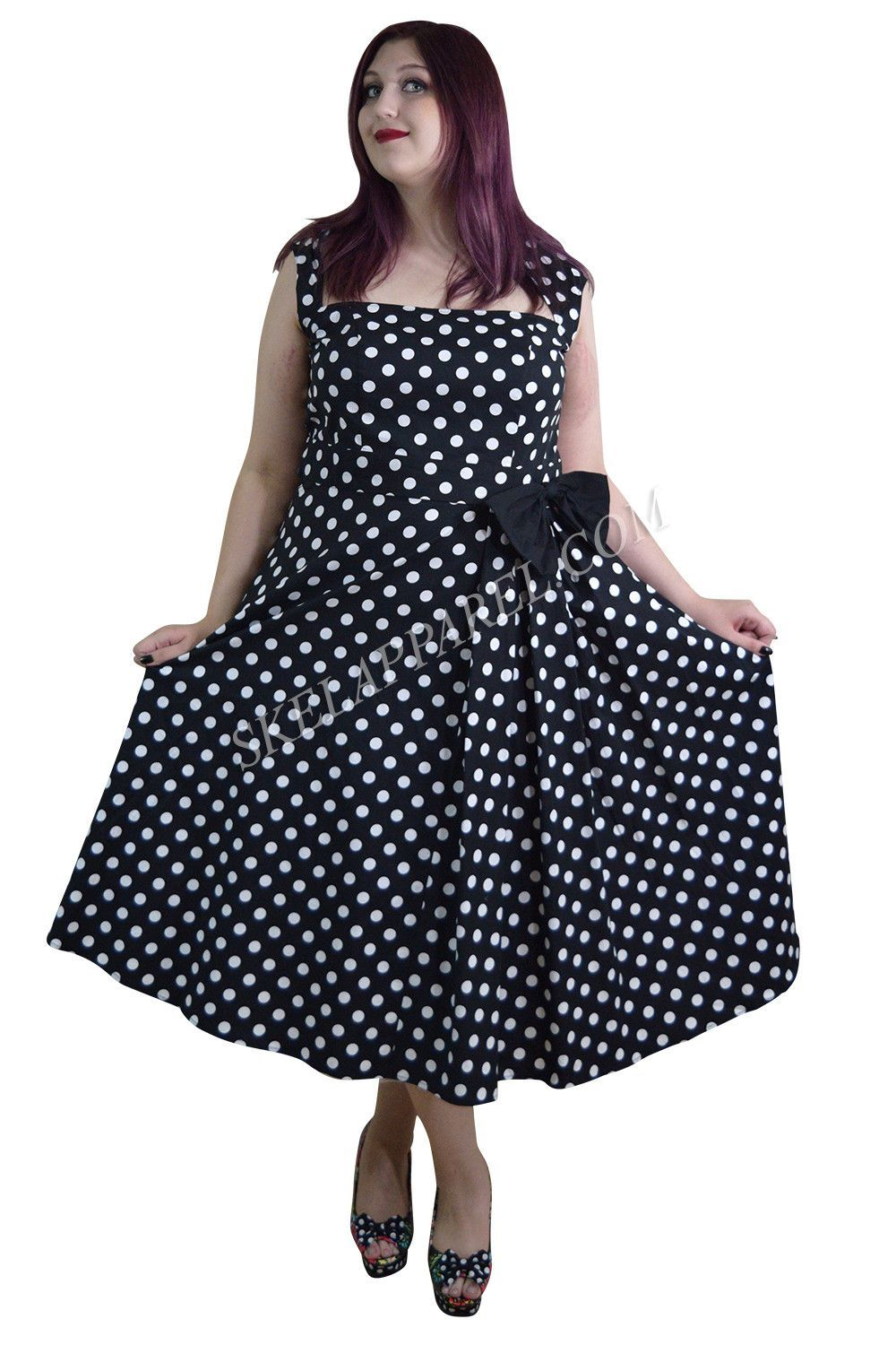 Plus Size 60 s Vintage Polka Dot Belted Bow Swing Party Dress