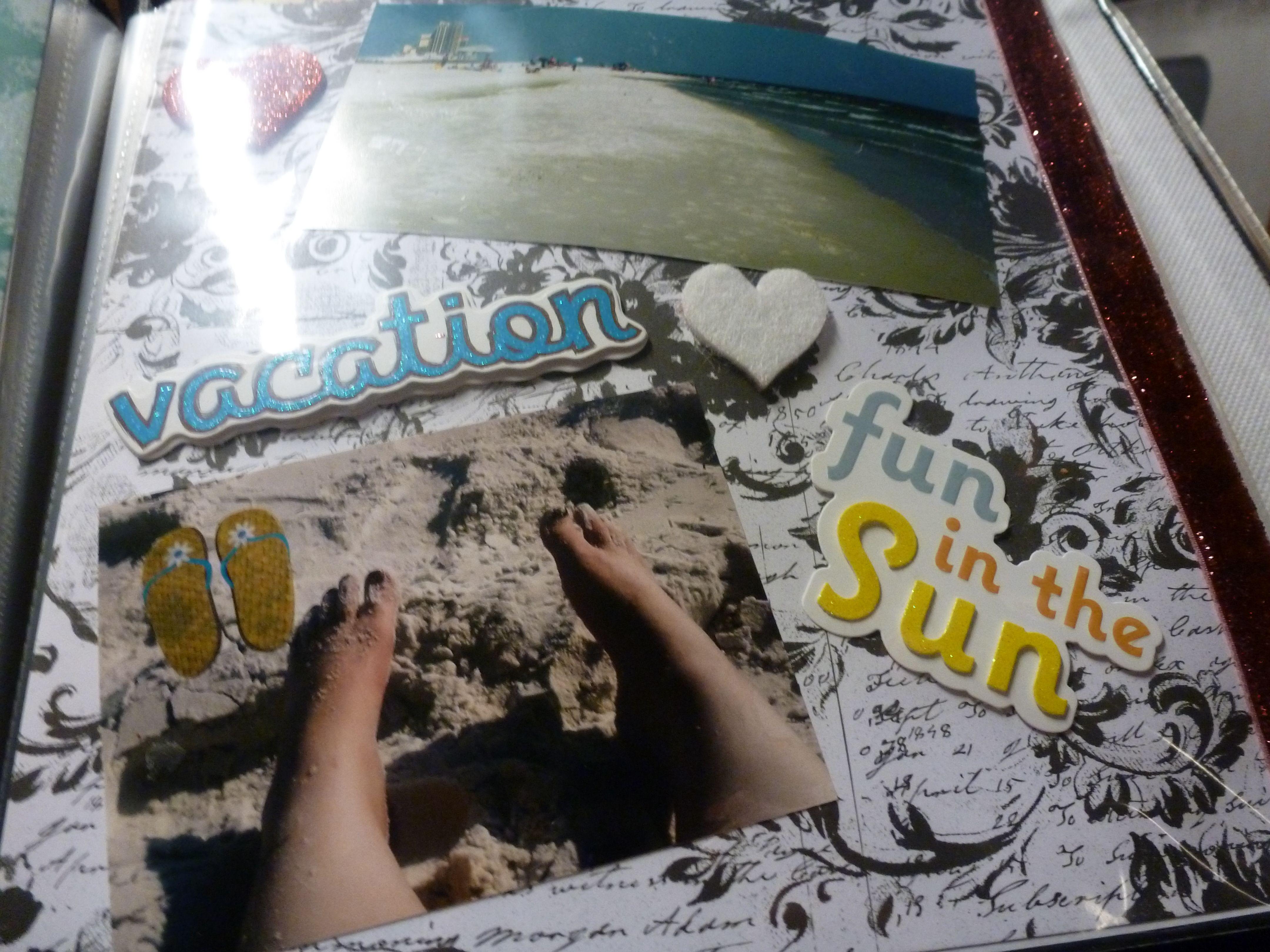 How to scrapbook 8x8 layouts - Gulf Shores Beach Alabama 8x8 Scrapbook Layout