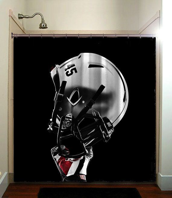 Ohio State Buckeyes College Football Helmet Shower Curtain Bathroom Home  Decor