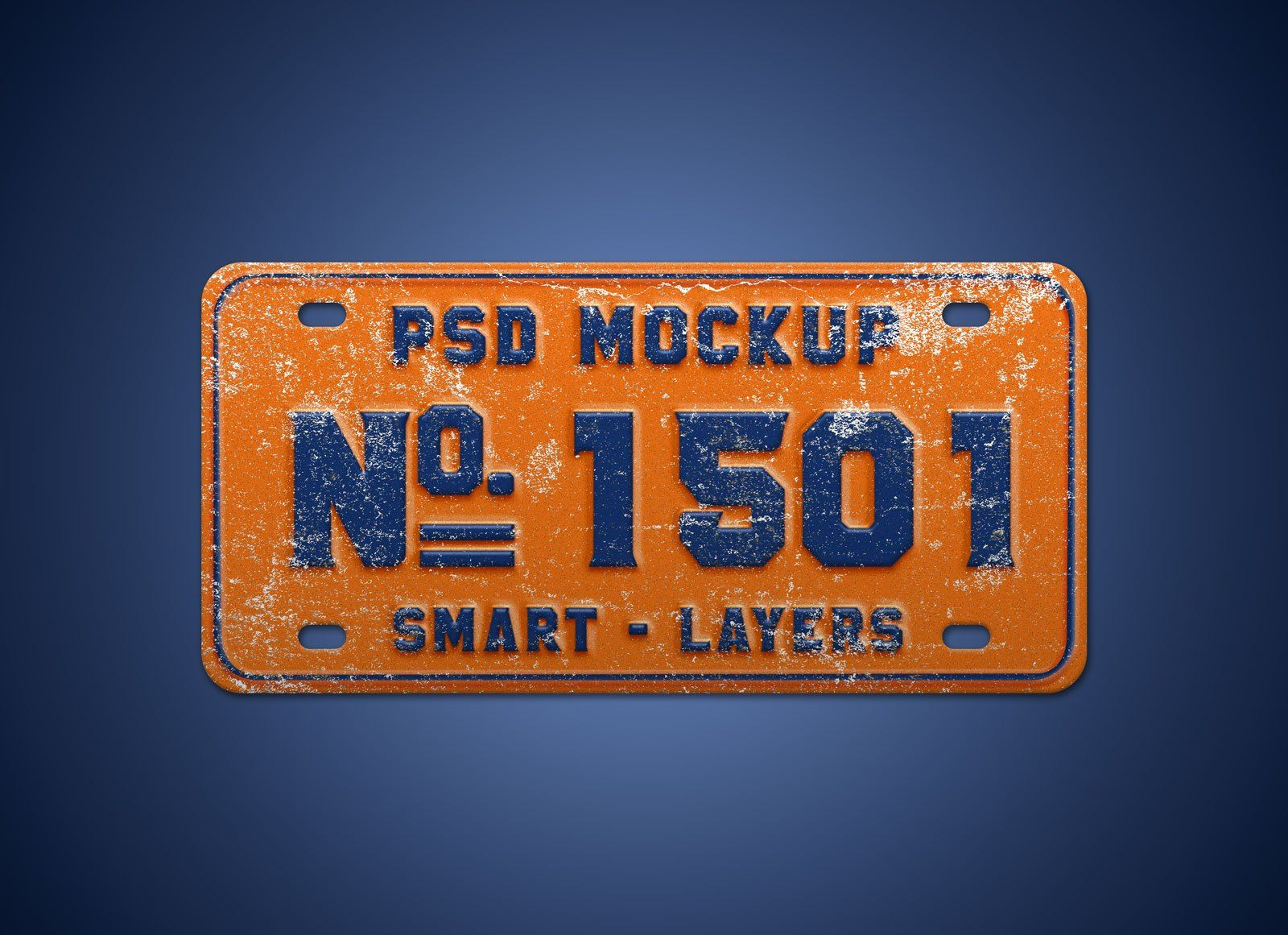 Free Steel Car Number Plate Mockup