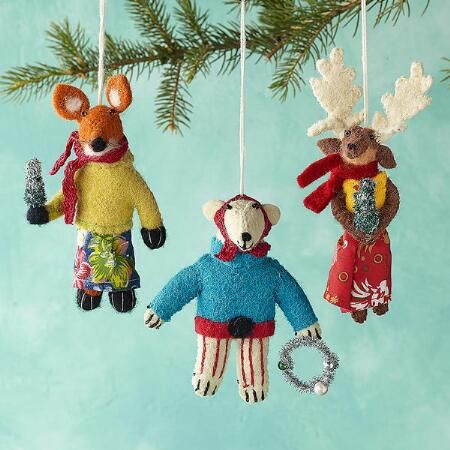 gleeful group ornaments set of all bundled up for christmas with their scarves on and christmas tree or wreath in hand set of 3 includes festive fox