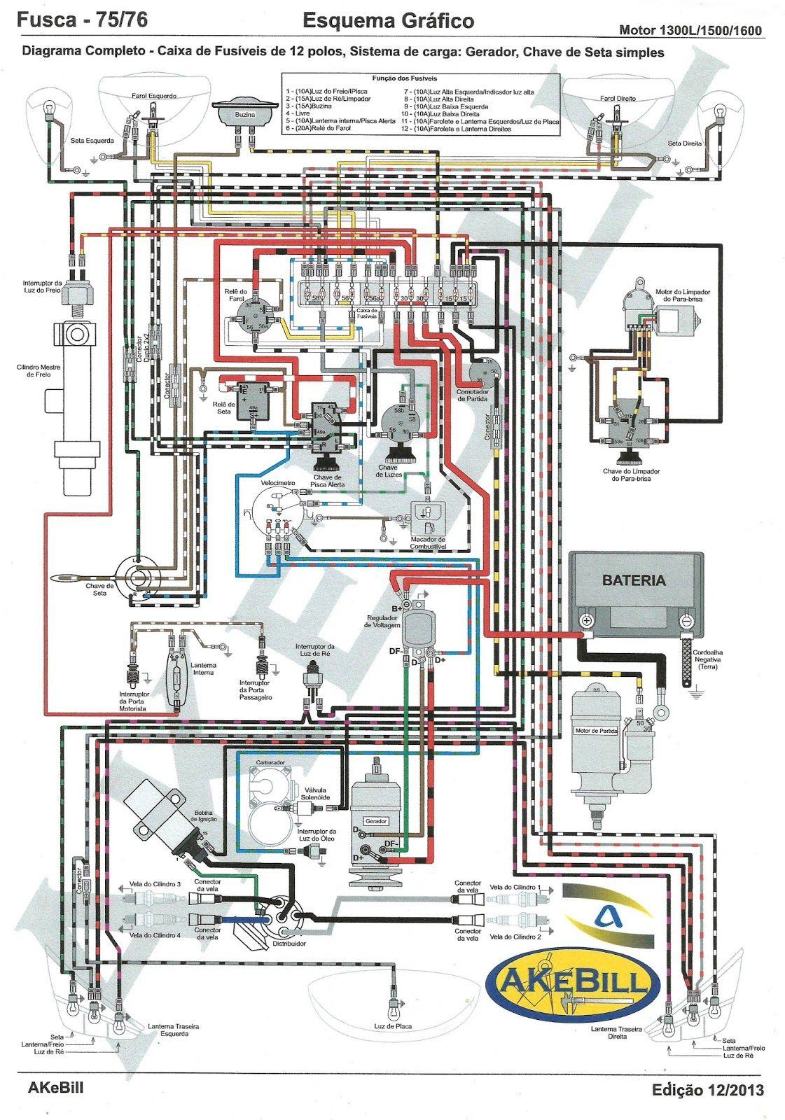 Resultado de imagem para esquema eletrico da kombi 75 folga no volante
