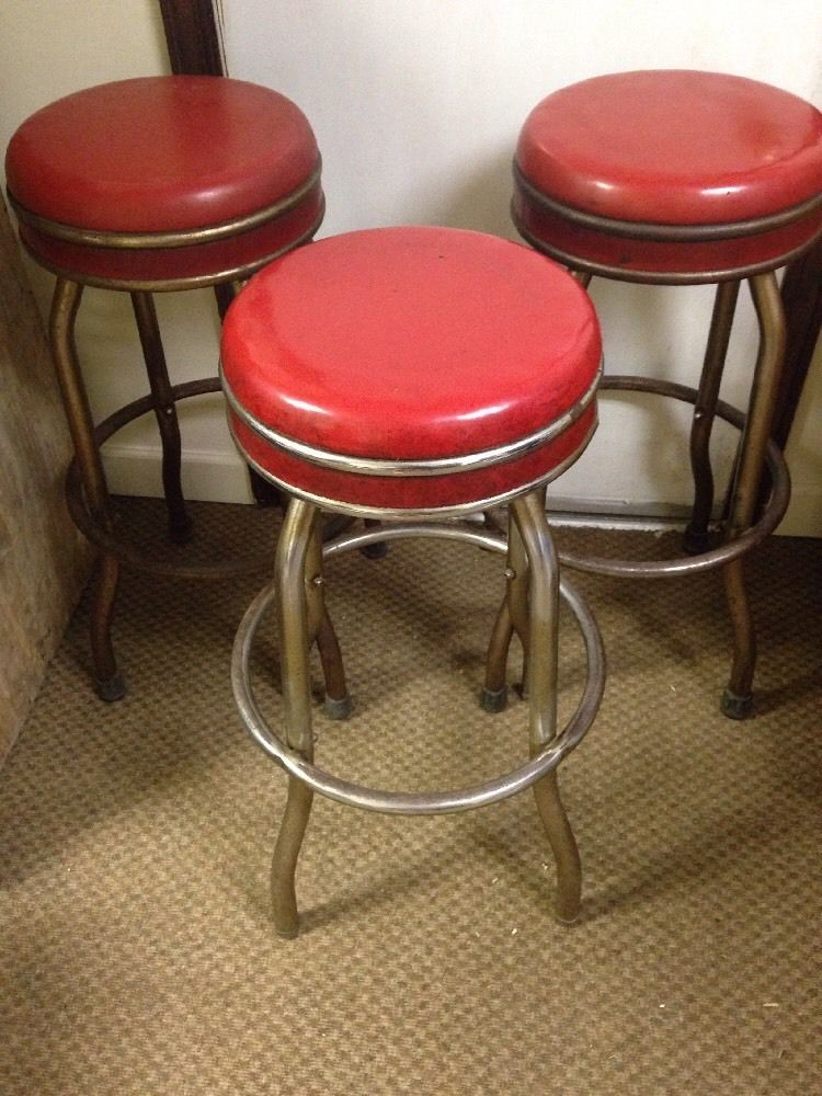 VINTAGE 1950 s 30 s Ruby Red Vinyl CHROME SWIVEL BAR STOOLS 3 Available Cosco 50s