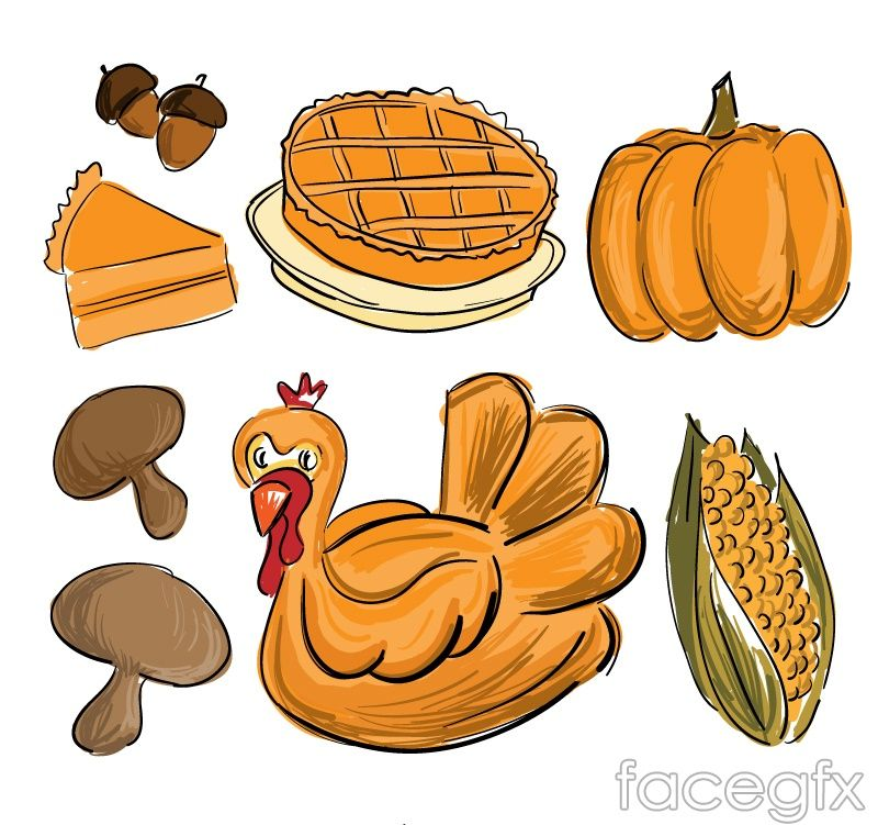 7 painted on thanksgiving vector