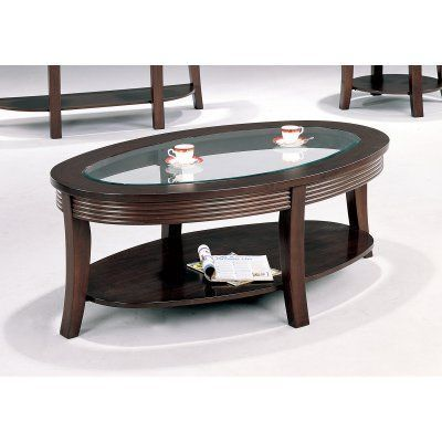 Coaster Furniture Oval Coffee Table with Glass Top Cappuccino