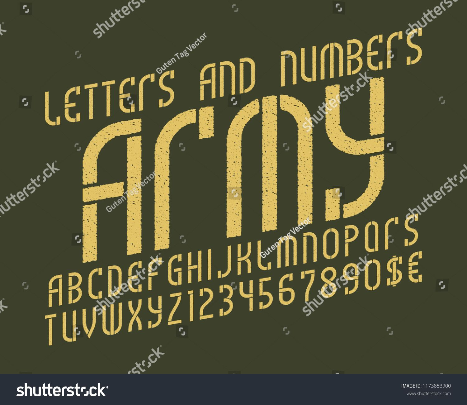 Army alphabet with numbers and currency symbols. Gaming