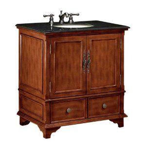 Charleston Sink Cabinet Bathroom Vanity, BLACK GRANITE ...