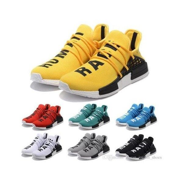 22247893d2004 2017 NMD HUMAN RACE Pharrell Williams x boost Yellow red black blue... via  Polyvore featuring men s fashion