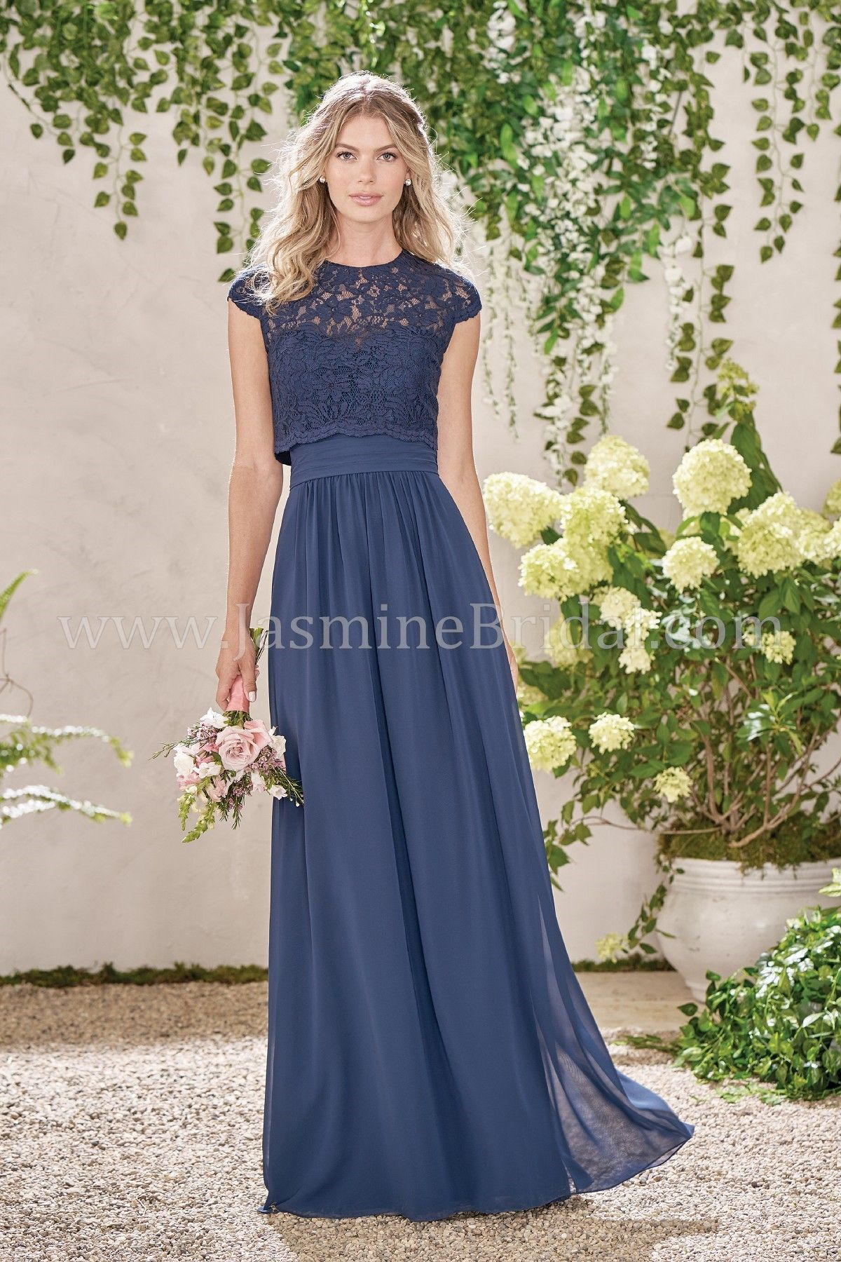 fe8d631dc6eb6 Jasmine Bridal Long Sweetheart Neckline Poly Chiffon Bridesmaid Dress with  Lace Top