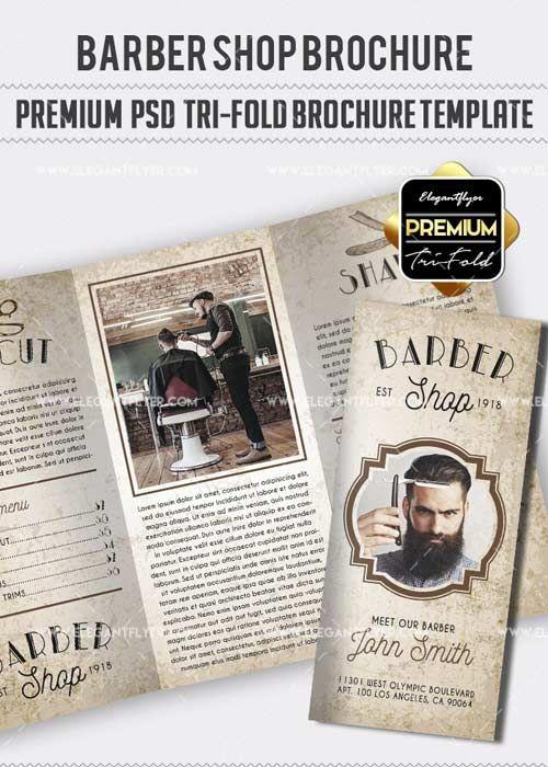 Barbershop V27 Premium Tri Fold Psd Brochure Template Free Download