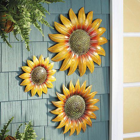 Metal Sunflower Set Backyard Fun Home Decor