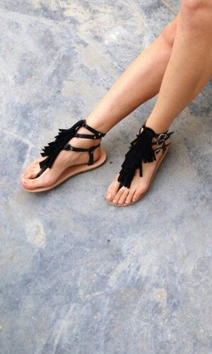 Black fringe sandals - Love from Cyprus