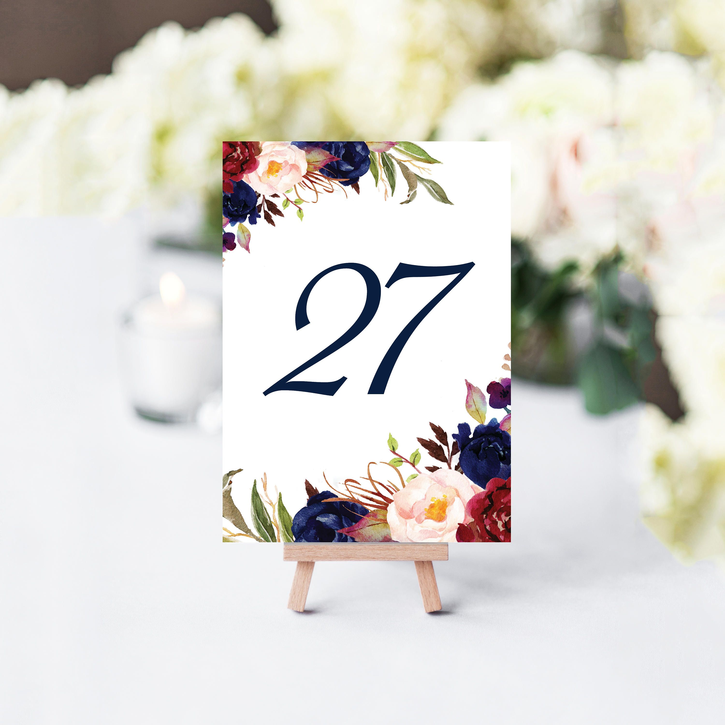 Navy Table Numbers Printable Table Numbers Floral Table Numbers
