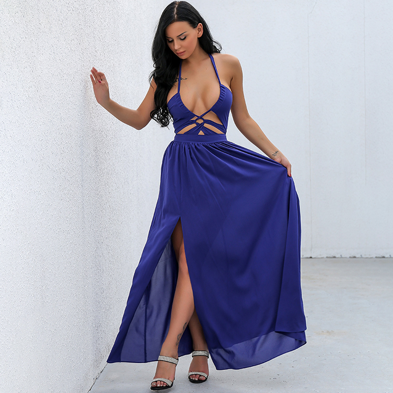 Mireille cut out keyhole halter neck backless long maxi dress