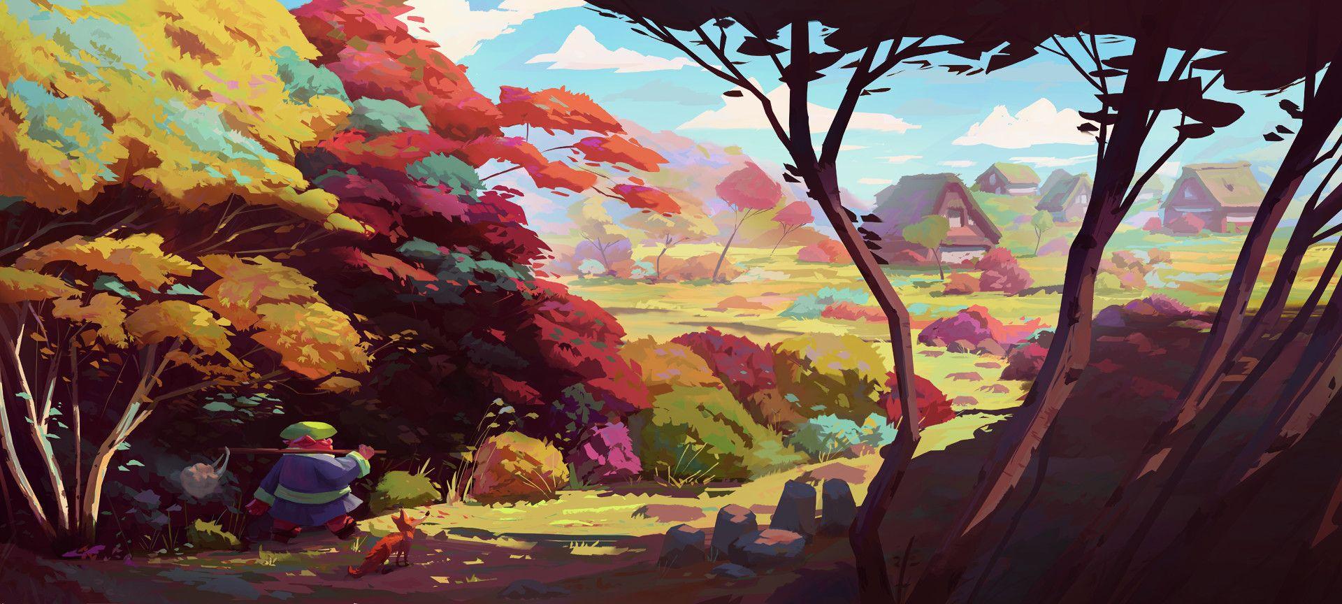 Artstation Autumn Leaves Slawek Fedorczuk Landscape Concept Landscape Art Animation Art